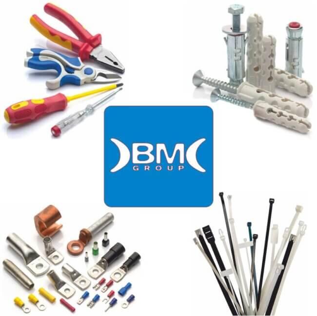 BM Group. Marca italiana. Material elétrico instalação. Terminais ligação. Abraçadeiras plásticas. Buchas. Parafusos. Ferramentas elétricas.