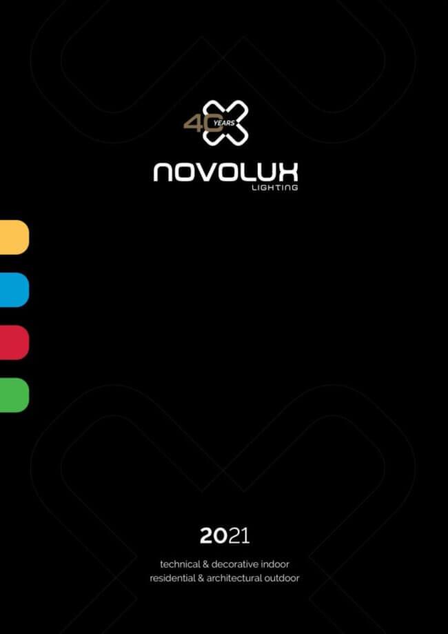 Novolux 2021 - Catálogo de iluminação composto pelas marcas Indeluz, Dopo, Exo e Cristher.